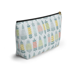 Stamped Leaves Accessory Pouch w T-bottom in Aqua