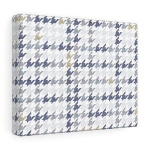 Plaid Houndstooth Wrapped Canvas in Blue
