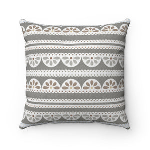 Eyelet Lace Square Throw Pillow in Taupe