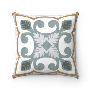 Azulejo Square Throw Pillow in Aqua