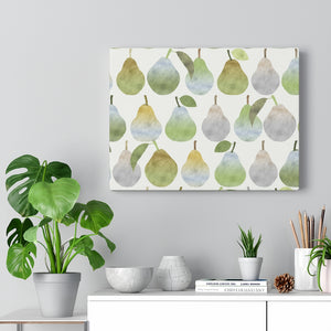 Watercolor Pears Wrapped Canvas in Green