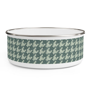 Textured Houndstooth Enamel Bowl in Green