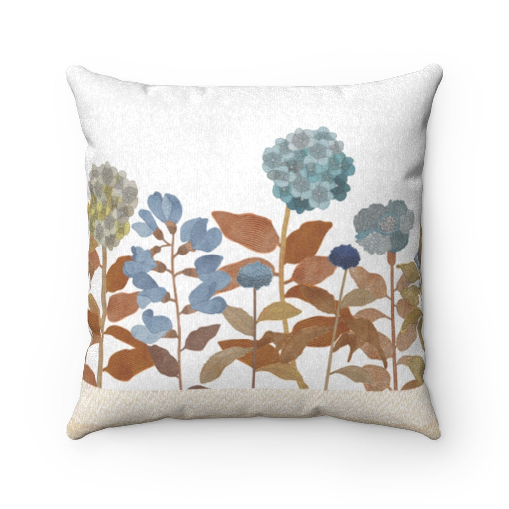 Illustrated Flowers Square Throw Pillow in Orange