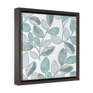 Cherry Plum Leaves Framed Gallery Wrap Canvas in Aqua