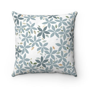 Snowbell Square Throw Pillow in Aqua