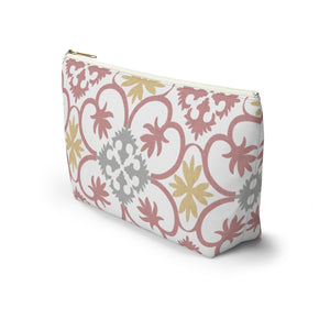 Portugal Tile Accessory Pouch w T-bottom in Pink