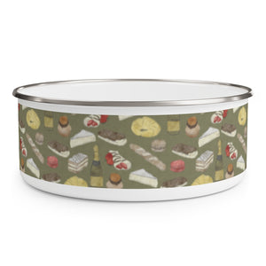 Watercolor French Pastries Enamel Bowl in Green