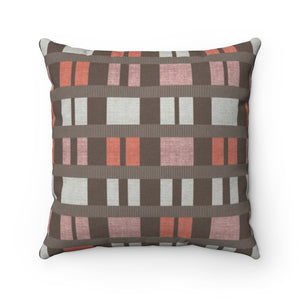 Clerestory Mid Century Modern Square Throw Pillow in Pink