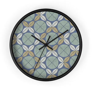 Leaf Ensconced Circle Wall Clock in Aqua