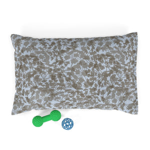Floral Plaid Pet Bed in Aqua