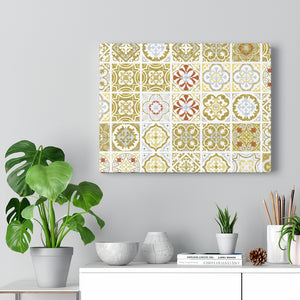 Seville Square Wrapped Canvas in Yellow