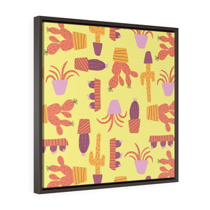 Cactus Framed Gallery Wrap Canvas in Yellow