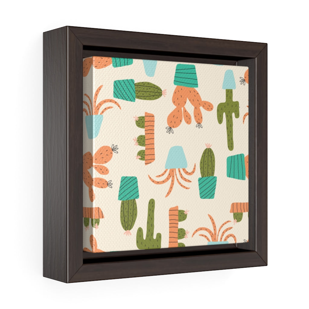Cactus Framed Gallery Wrap Canvas in Orange