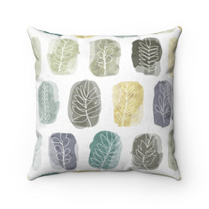 Watercolor Leaf Stamp Square Throw Pillow in Teal