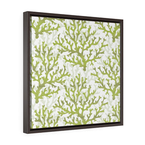 Coral Framed Gallery Wrap Canvas in Green
