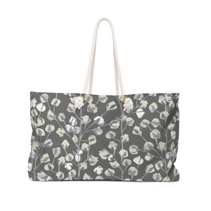 Cotton Branch Weekender Bag in Gray