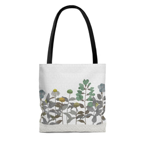Illustrated Flowers Tote Bag in Brown