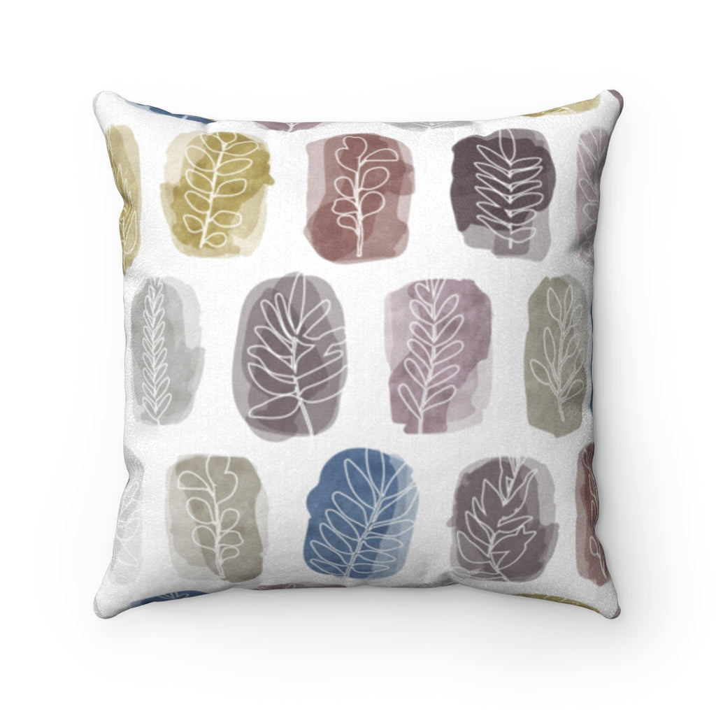 Watercolor Leaf Stamp Square Throw Pillow in Purple