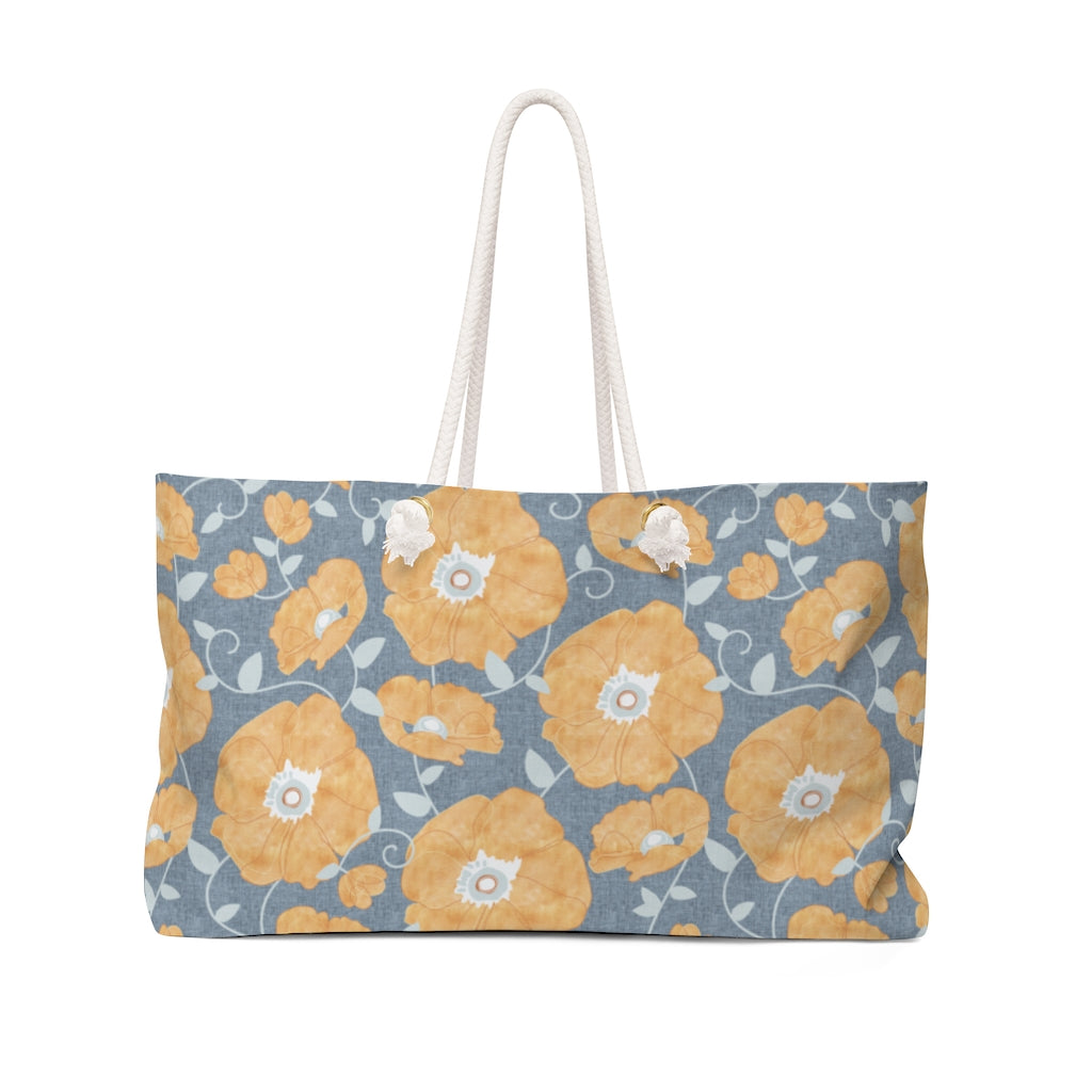 Floral Poppies Weekender Bag in Orange