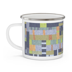 Block Quilt Enamel Mug in Multi