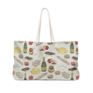 Watercolor French Pastries Weekender Bag in Cream