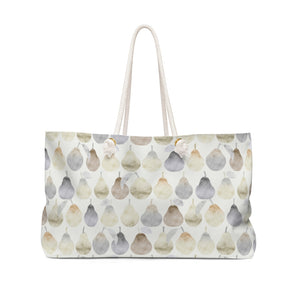 Watercolor Pears Weekender Bag in Cream