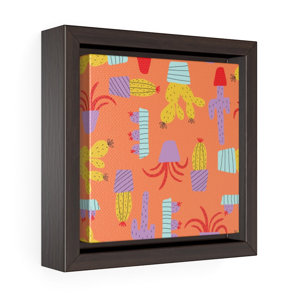 Cactus Framed Gallery Wrap Canvas in Brown
