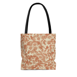 Floral Plaid Tote Bag in Orange