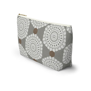 Lace Hexagon Accessory Pouch w T-bottom in Gray