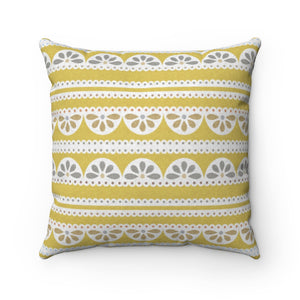 Eyelet Lace Square Throw Pillow in Yellow