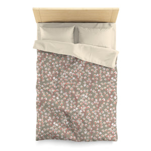 Cotton Branch Microfiber Duvet Cover in Pink