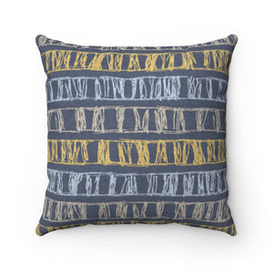 Sketch Stripe Square Throw Pillow in Navy