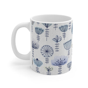 Watercolor Sketch Floral Mug in Aqua