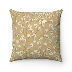Cotton Branch Square Throw Pillow in Gold