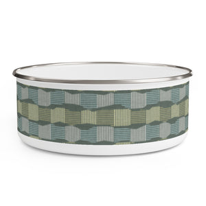 Check Stripe Enamel Bowl in Green