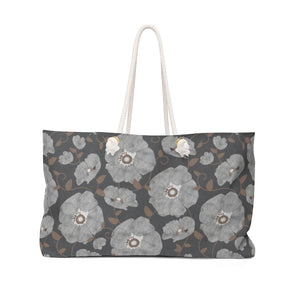 Floral Poppies Weekender Bag in Gray