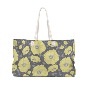 Floral Poppies Weekender Bag in Yellow