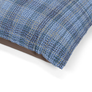 Dotted Plaid Pet Bed in Blue