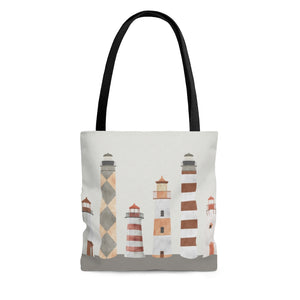 Lighthouses Tote Bag in Coral
