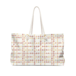 Plaid Houndstooth Weekender Bag in Pink