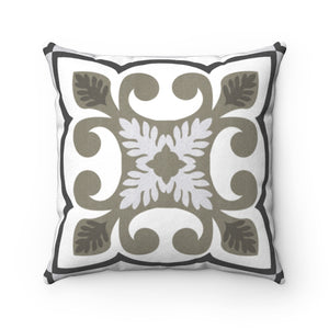 Azulejo Square Throw Pillow in Gray