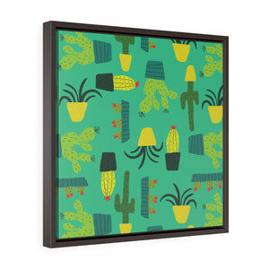 Cactus Framed Gallery Wrap Canvas in Teal