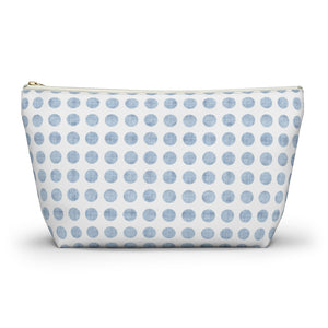Textured Polka Dots Accessory Pouch w T-bottom in Aqua