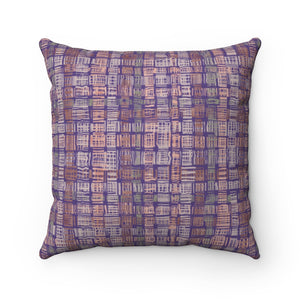 Textured Plaid Square Throw Pillow in Purple