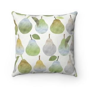 Watercolor Pears Square Throw Pillow in Green