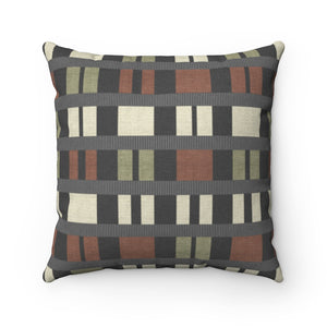 Clerestory Mid Century Modern Square Throw Pillow in Gray