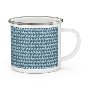 Basket Weave Enamel Mug in Blue