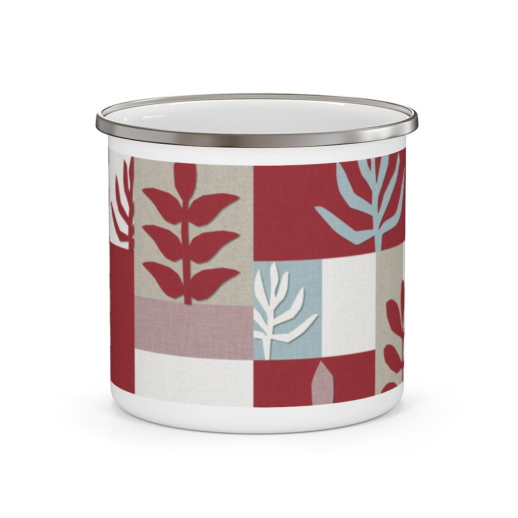 Botanical Paper Enamel Mug in Red