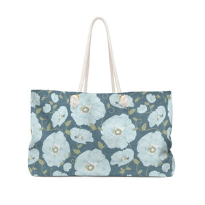 Floral Poppies Weekender Bag in Aqua