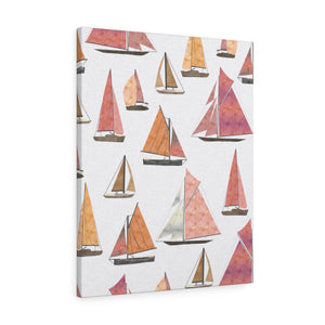 Watercolor Sailboats Wrapped Canvas in Pink